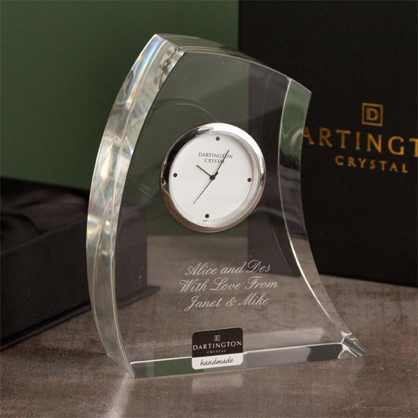 Dartington Personalised Crystal Crescent Clock