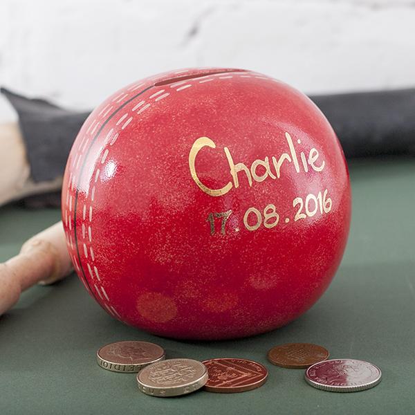 Personalised Herringbone China Cricket Ball Money Box