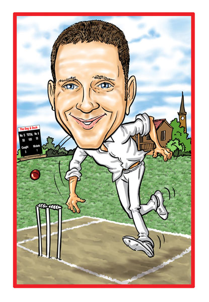 Personalised Sports Caricature  Cricket