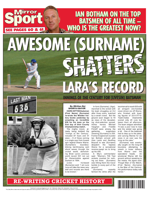 Themed Male Spoof Newspapers Cricket Runs Record Shattered