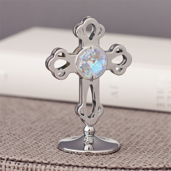 Crystocraft Silverplated Cross Ornament With Swarovski Crystal - Ornament Gifts