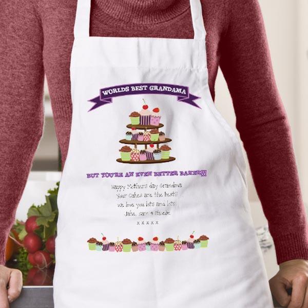 Worlds Best Grandma Cupcake Apron - Cupcake Gifts