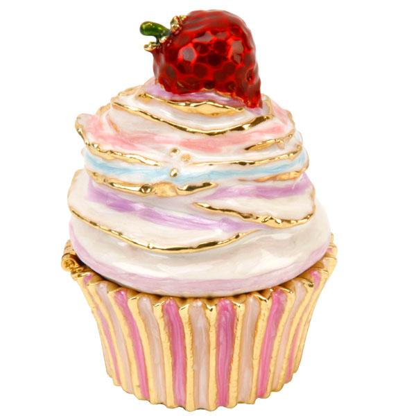 Luxury Strawberry Cupcake Trinket Box - Cupcake Gifts