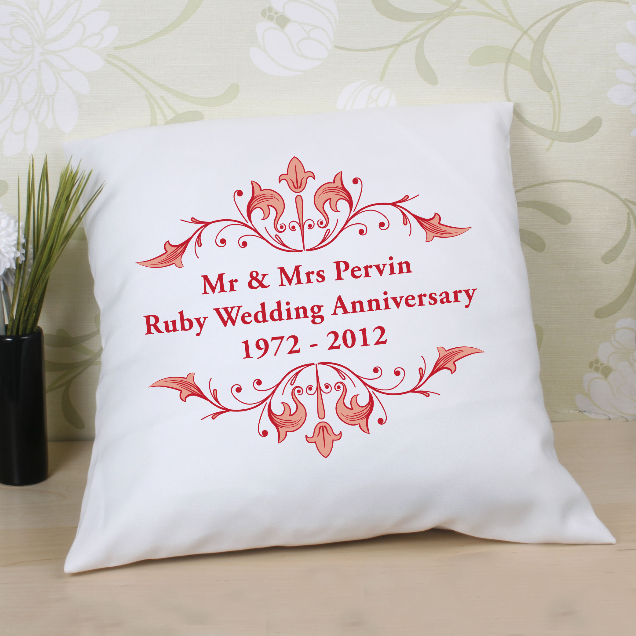 Personalised Ruby Anniversary Cushion - Ruby Wedding Anniversary Gifts