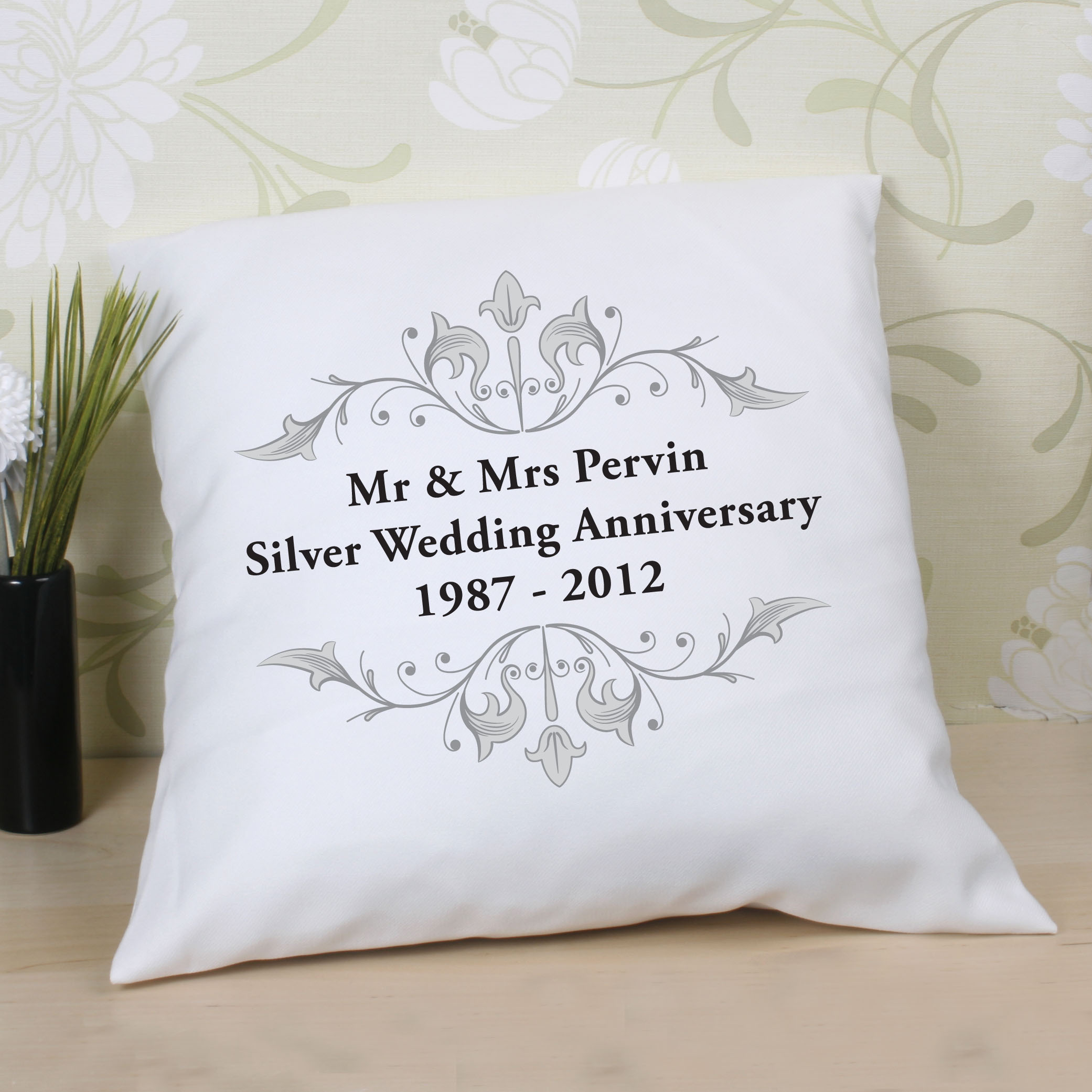 Gift Experiences For Wedding Anniversary : Personalised Silver Anniversary Message Plate Gift Shop