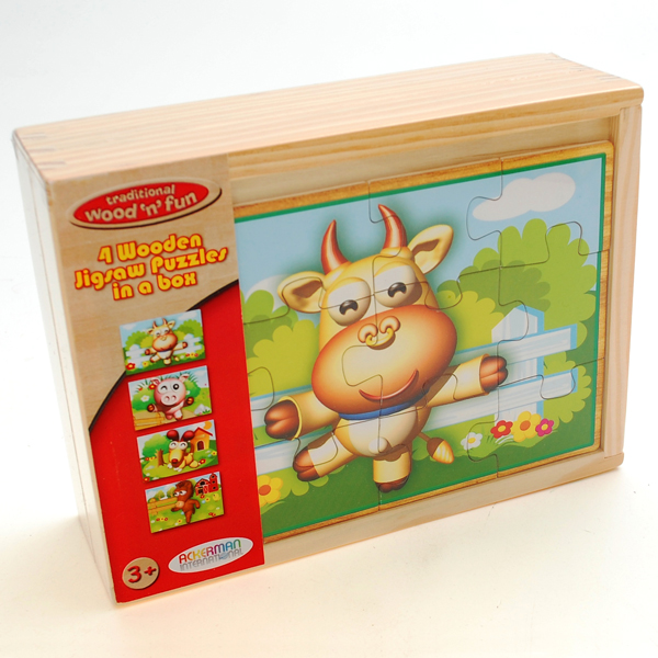 Four Farm Animal Jigsaws in Wooden Box - Farm Gifts