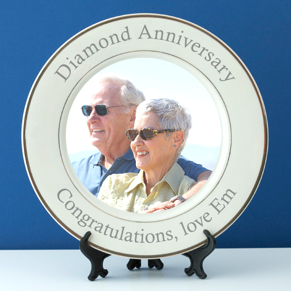 Personalised Diamond Wedding Anniversary Photo Plate