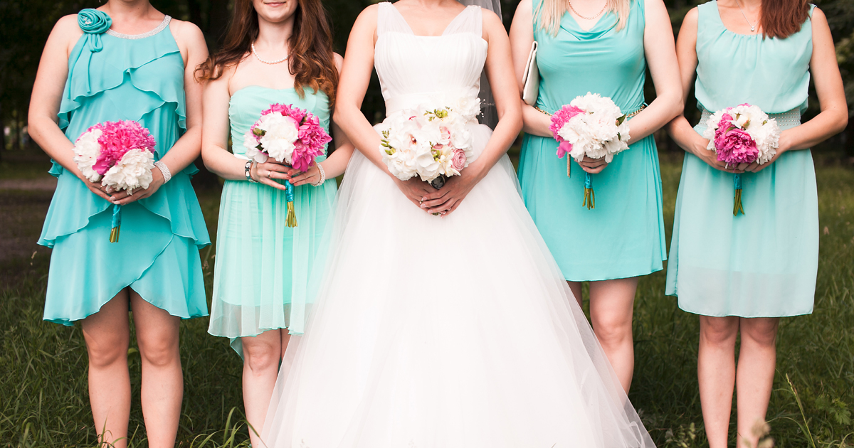 Different bridesmaids in different dresses