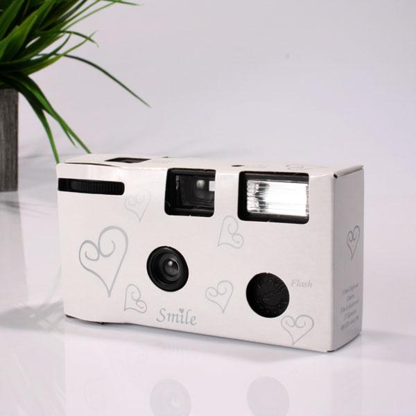 White & Silver Hearts Disposable Camera