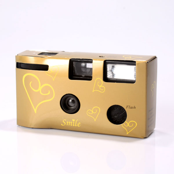 Gold Hearts Disposable Camera