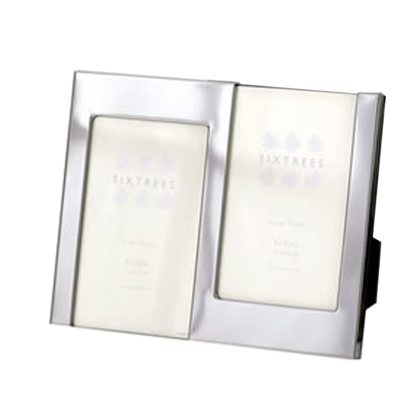 Engraved Shiny Silver Double Photo Frame - Shiny Gifts