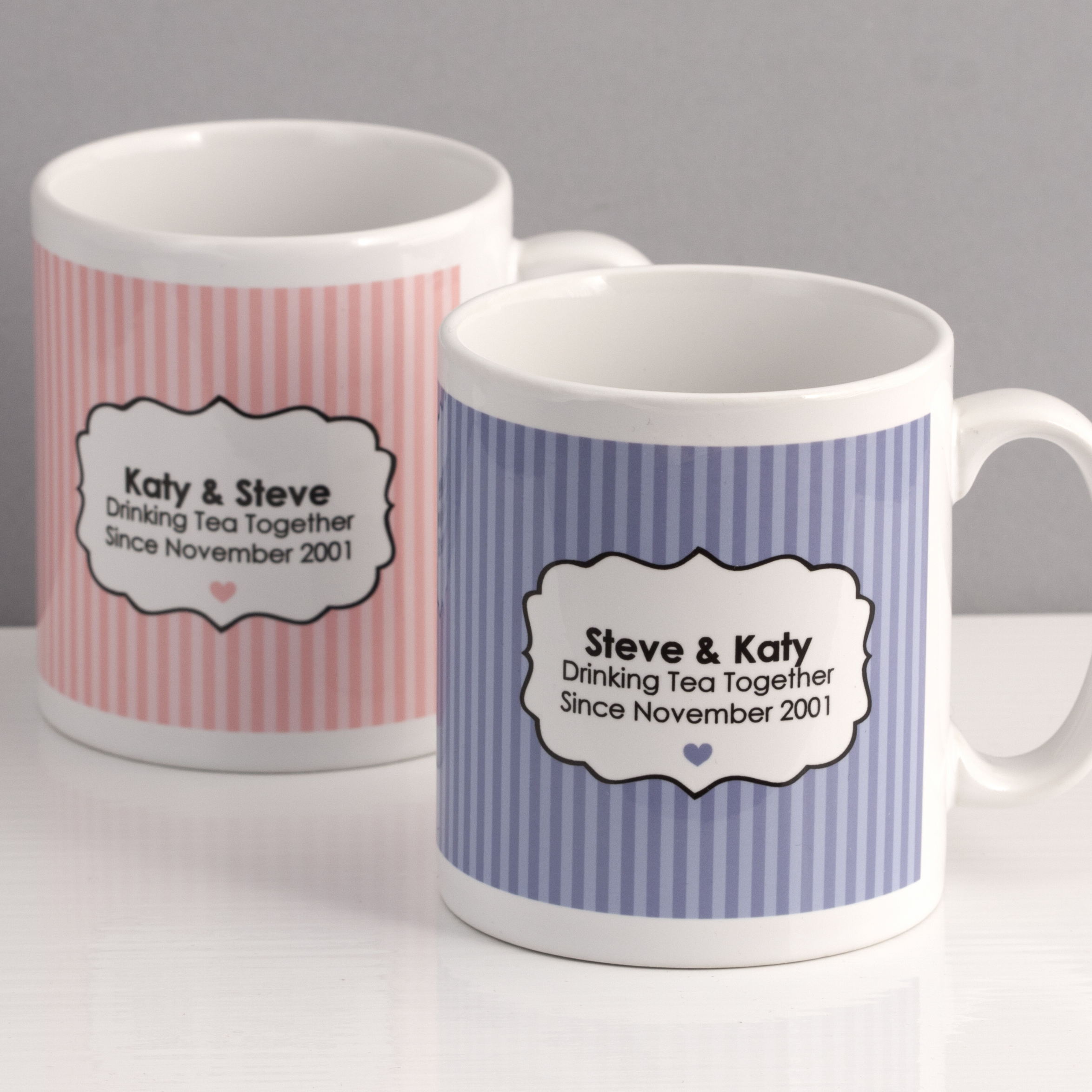 Drinking Tea Together Since... Personalised Pair of Mugs