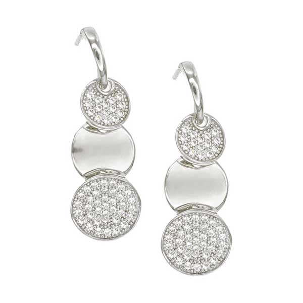 The Gift Experience Drop Circles Sterling Silver Earrings with CZ Stones