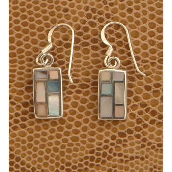 Coloured Shell Rectangular Earrings
