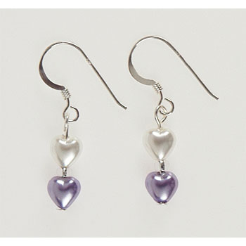 Glass Pearls and Hearts Earrings