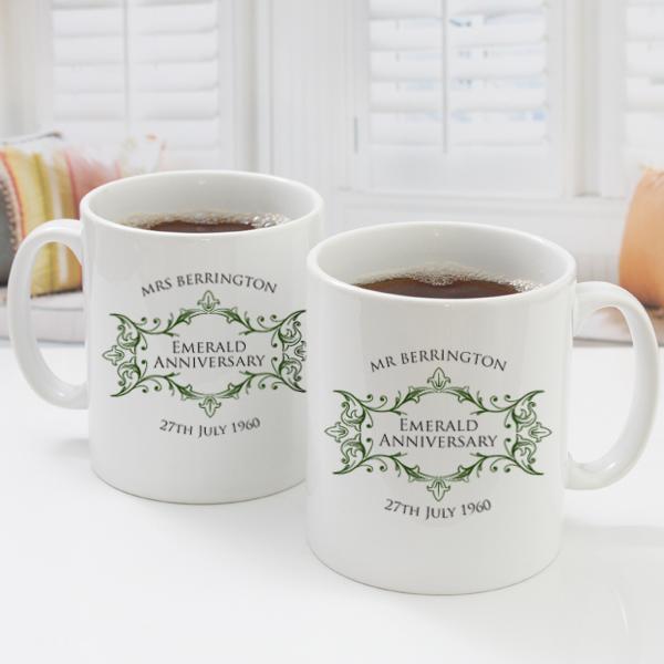 pair of personalised emerald anniversary mugs