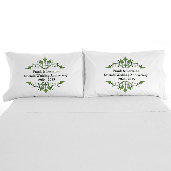 Personalised Emerald Anniversary Pillowcases