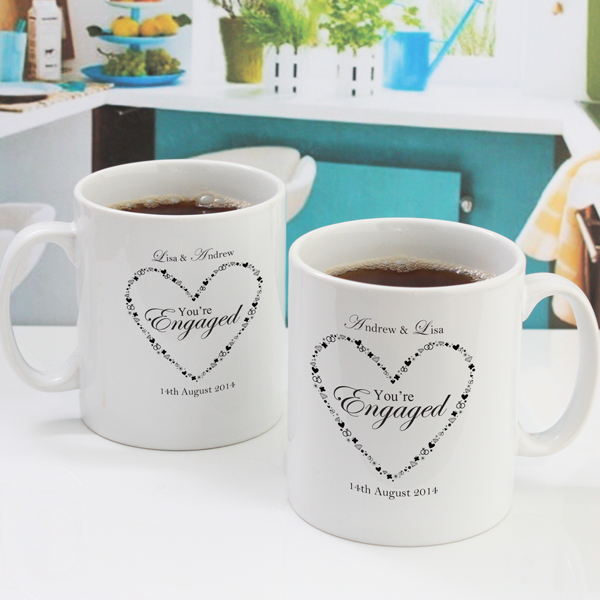 Personalised Youre Engaged Heart Design Pair Of Mugs