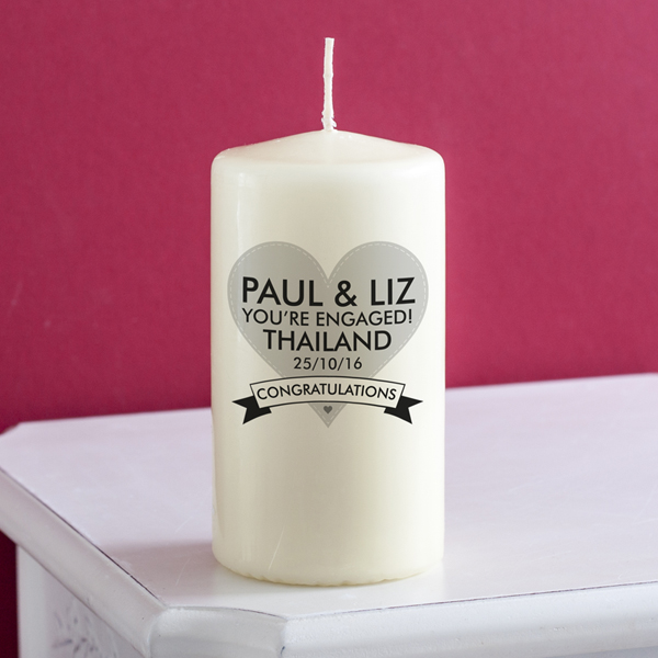 Personalised Engagement Candle - Engagement Gifts