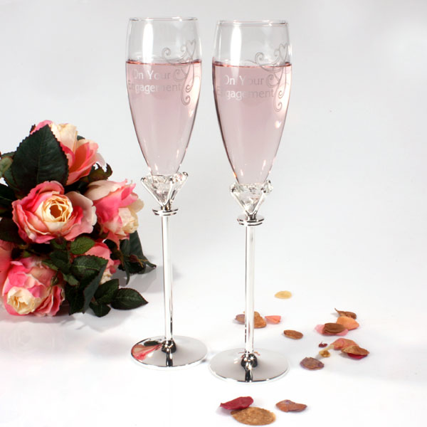 On Your Engagement Champagne Flutes