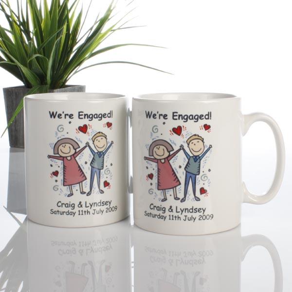 On Your Engagement Personalised Mug Pair