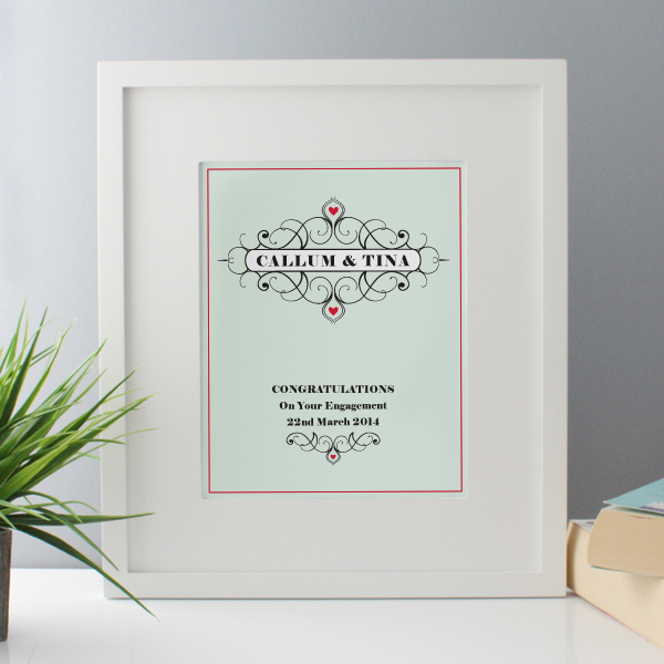 Personalised Engagement Framed Print - Engagement Gifts