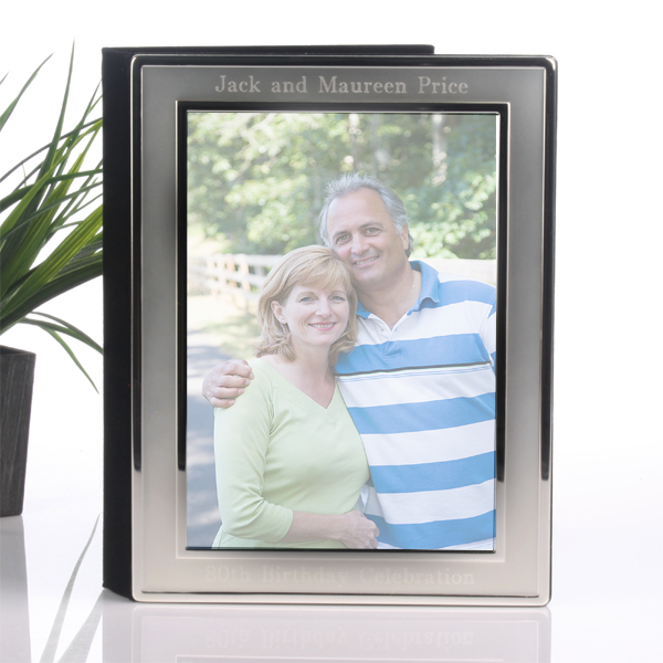Engraved Brushed Silver Photo Album - Photo Album Gifts