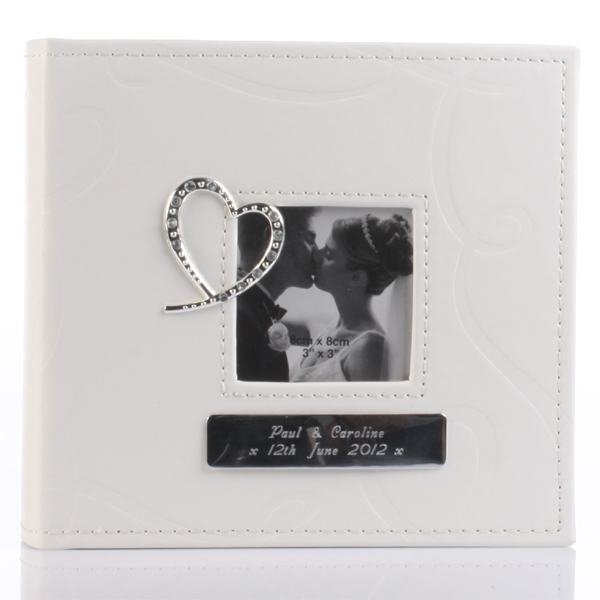Engraved Crystal Heart Photo Album - Photo Album Gifts