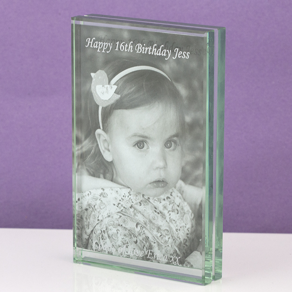 Engraved Heavy Glass Double Photo Frame - Photo Frame Gifts