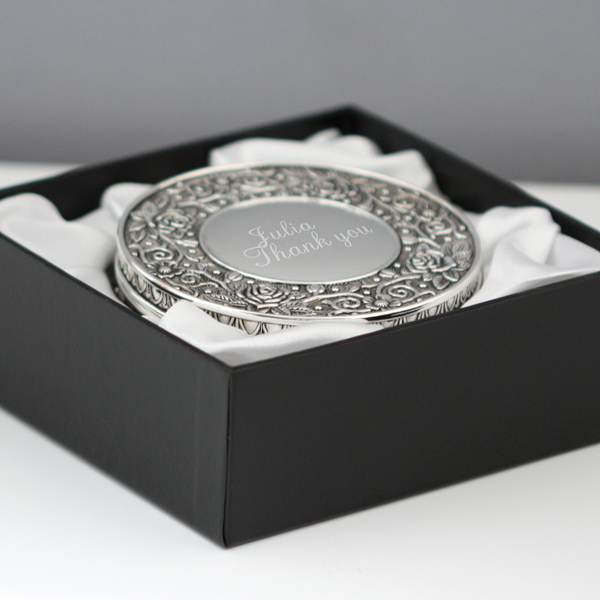 Engraved Ornate Round Jewellery Box - Jewellery Gifts