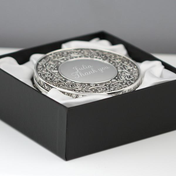 Engraved Ornate Round Jewellery Box - Jewellery Box Gifts