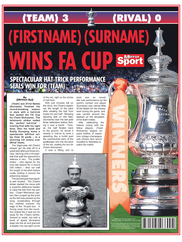 Themed Male Spoof Newspapers FA Cup Final