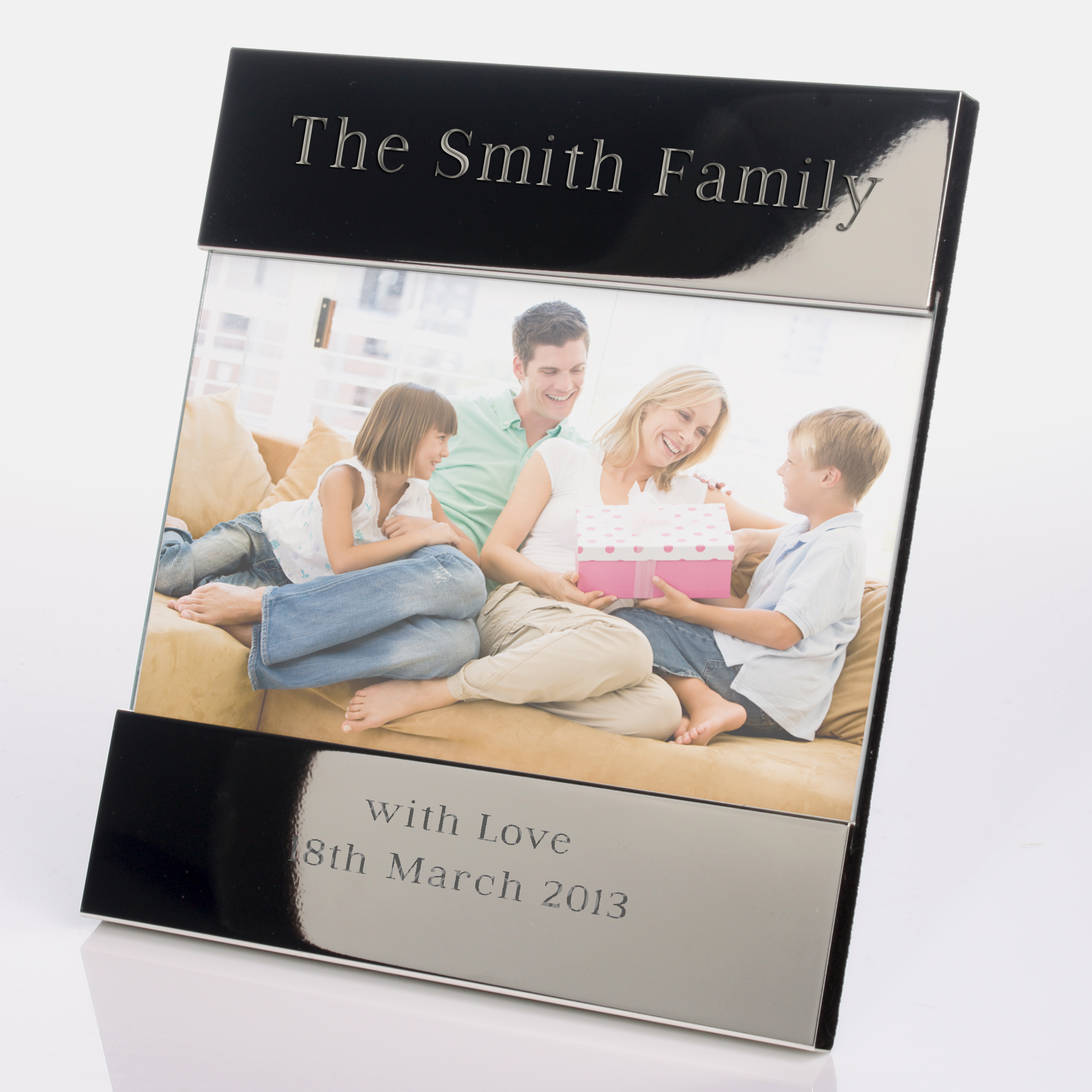 Shiny Silver Engraved Photo Frame 6 x 4 - Shiny Gifts