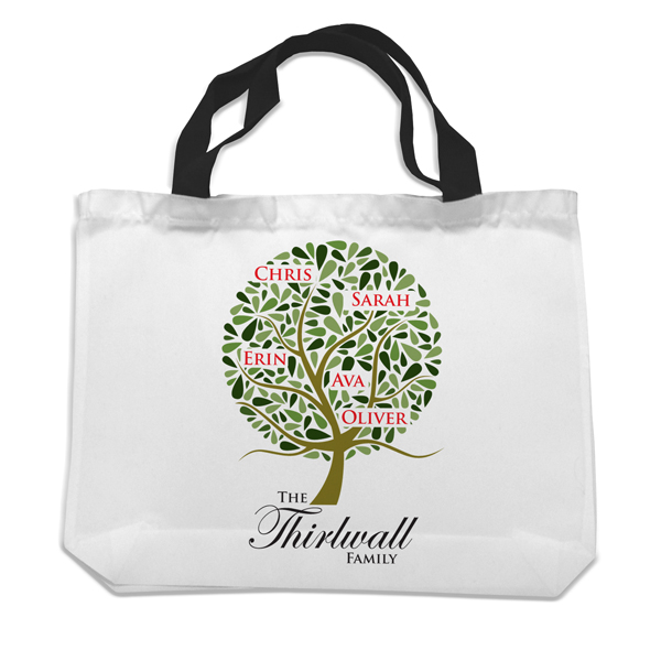 Family Tree Personalised Black Handled Shopping Bag