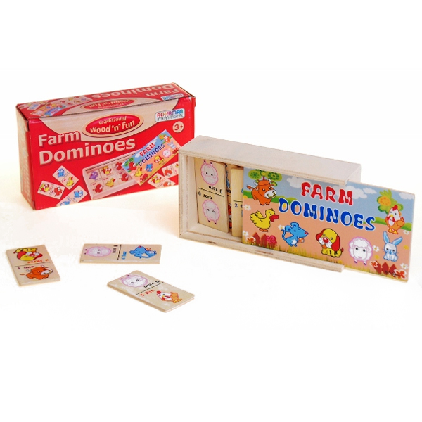 Farm Wooden Dominoes - Games Gifts