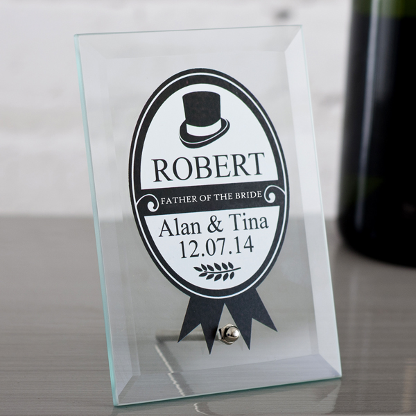 Personalised Father Of The Bride Glass Plaque