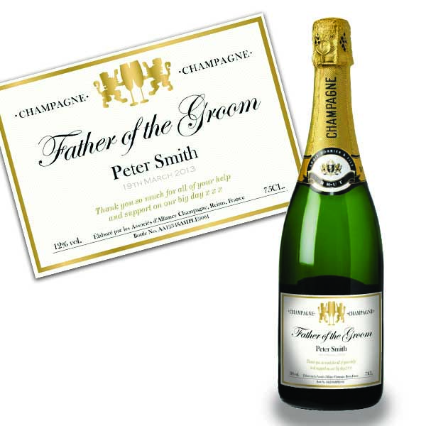 Father Of The Groom Personalised Champagne Gold Gift Carton