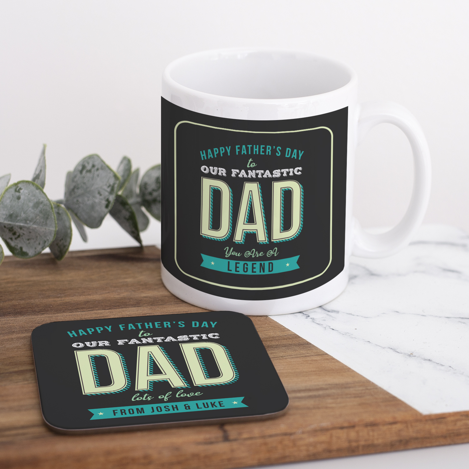 Personalised Fantastic Dad Fathers Day Mug Coaster Set The Gift Experience