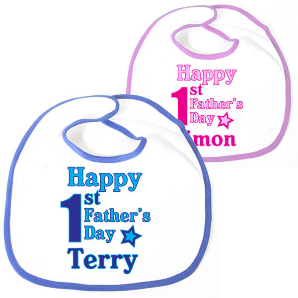Happy 1st Fathers Day Personalised Baby Bib Pink