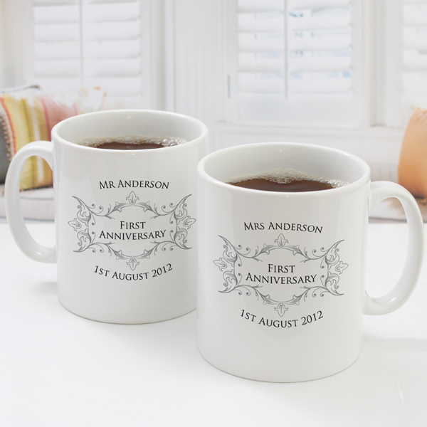 Pair of Personalised First Anniversary Mugs