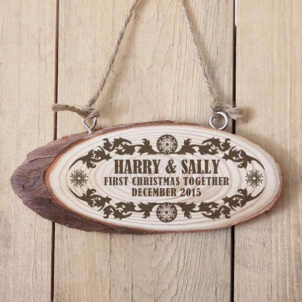 Personalised First Christmas Together Wooden Hanging Plaque