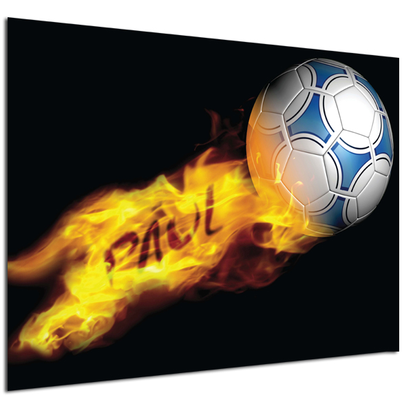 Personalised Flaming Football Poster Poster Only