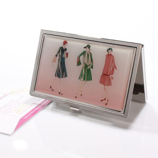Flapper Girl Engraved Business Card Holder - Business Gifts