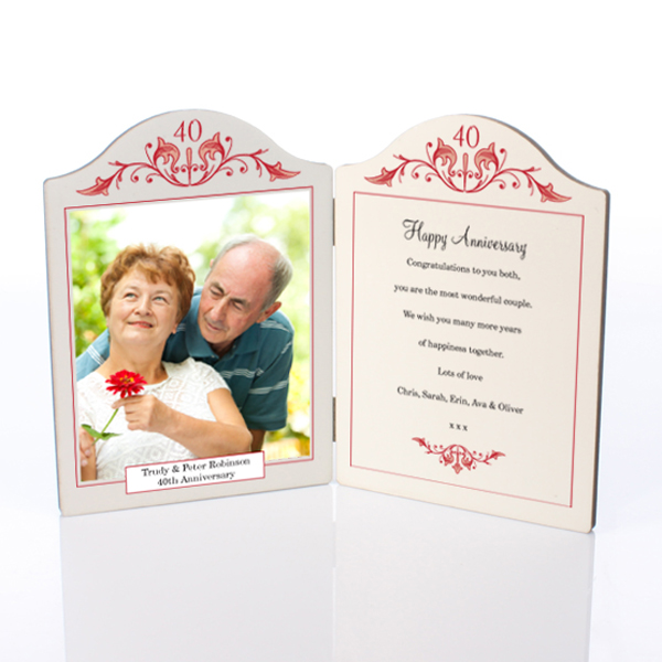 Ruby Anniversary Photo Message Plaque - Ruby Wedding Anniversary Gifts