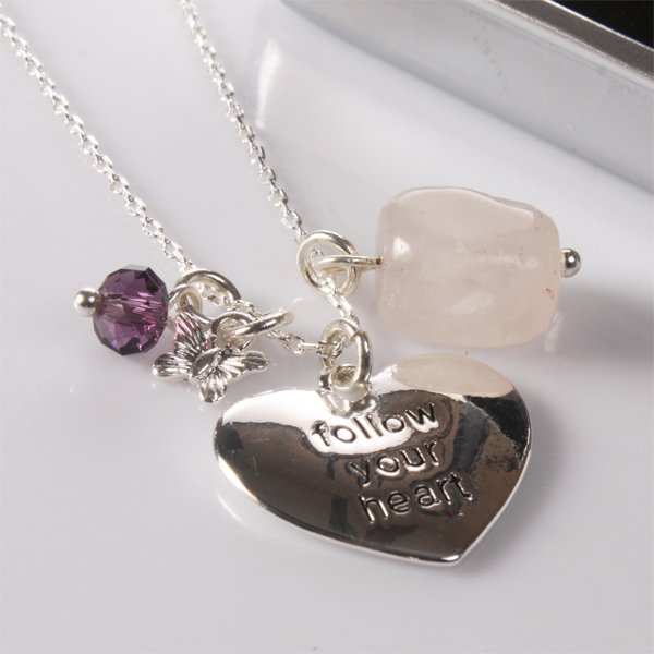 follow your heart necklace with personalised box