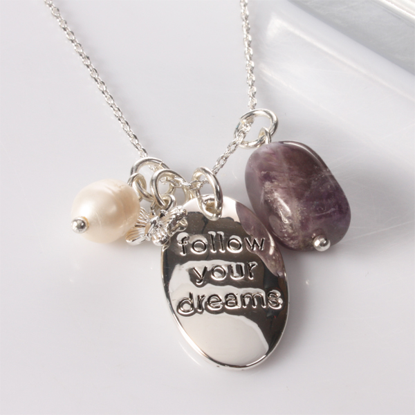 follow your dreams necklace with personalised box
