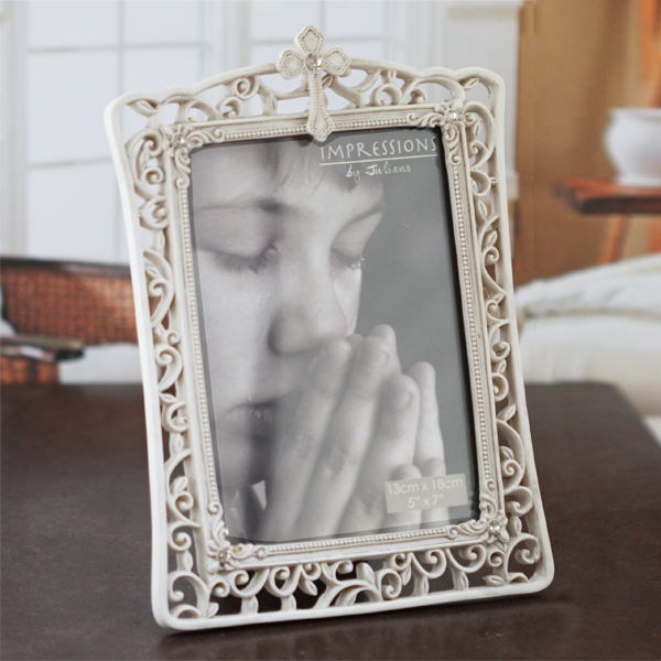 Ornate Photo Frame With Cross Design - Design Gifts
