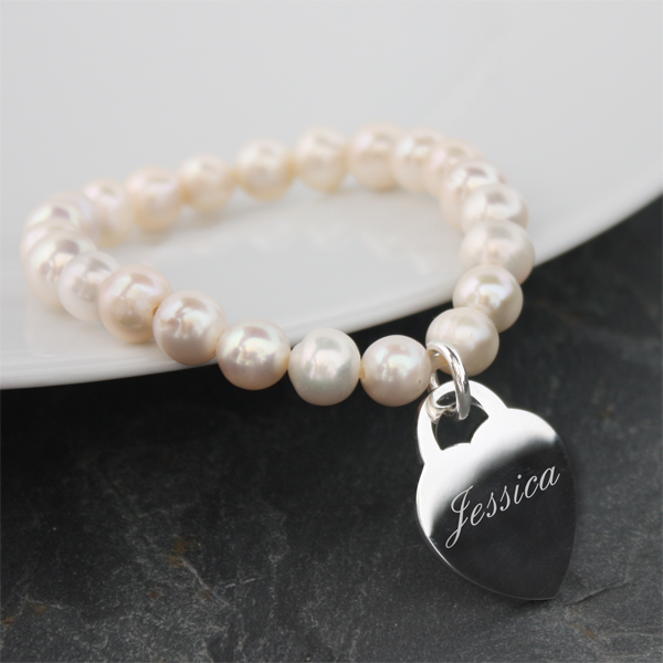 Freshwater Pearl Bracelet With Engraved Silver Plated Heart - Engraved Gifts
