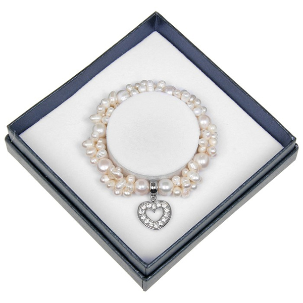Fresh Water Pearl Heart Charm Bracelet in Personalised Box