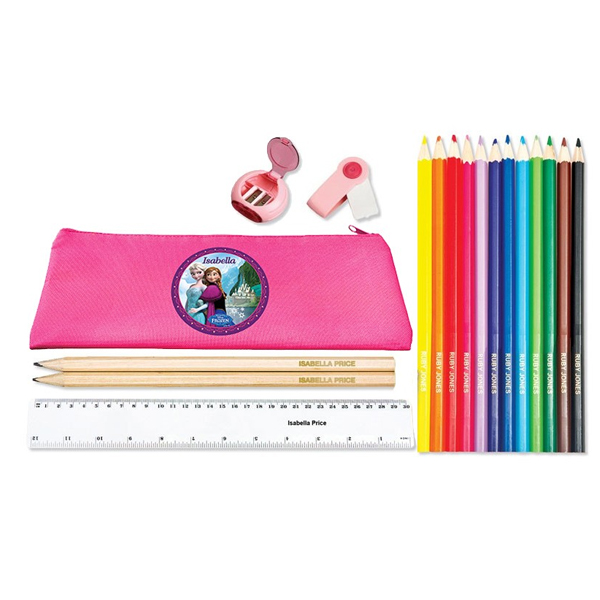 Personalised Pink Pencil Case, Pencil and Ruler Pack - Disney Frozen Design - Disney Frozen Gifts